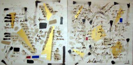 Biagio Cepollaro,Intanto, 2009.Tecnica mista su mdf, due tavole,complessivi cm 100 x 200.
