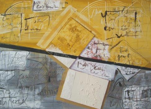 Biagio Cepollaro,Processo-2, 2012. Tecnica mista su tela, cm 50 x 70.