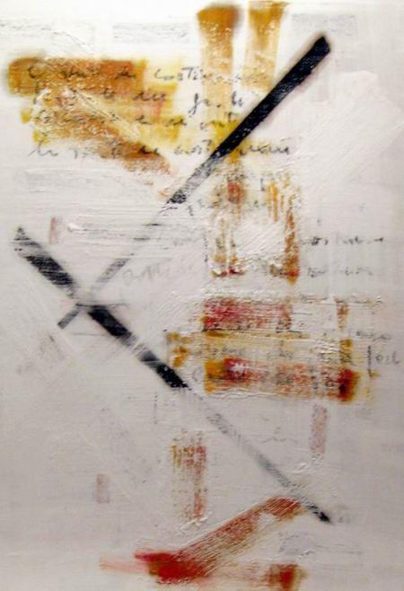 Biagio Cepollaro, Al di là del bianco-2, 2008. Tecnica mista su mdf, cm 100 x 70. Collezione privata, Napoli.